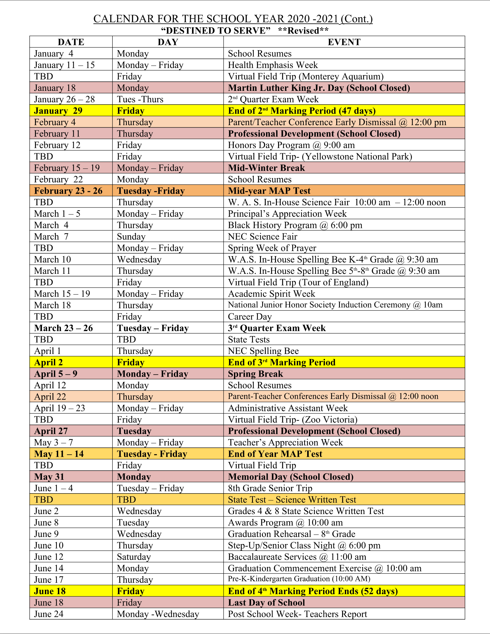 Events/Calendar | Westchester Area School